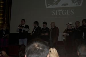 """El equipo de """"Capa caída"""" presentando la película."""