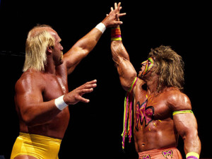 Ultimate Warrior frente a Hulk Hogan en WrestleMania VI.