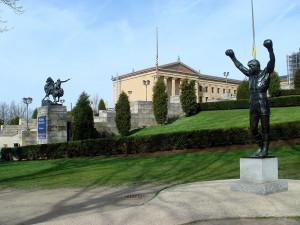 """La mítica estatua dedicada a Rocky Balboa vista por primera vez en """"Rocky III""""."""